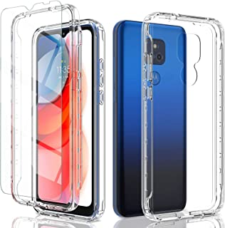 Crystal Clear Phone Case for Motorola Moto G Play (2021) with [2 x Tempered Glass Screen Protector],Slim Shockproof Phone Case Bumper [Hard PC Frame+TPU Flexible Back] [Anti-Yellowing]-Clear(6.5'')