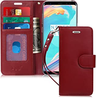 FYY [Luxury Genuine Leather Wallet Case for Samsung Galaxy S8, [Kickstand Feature] Flip Folio Case Cover with [Card Slots] and [Note Pockets] for Samsung Galaxy S8 Wine Red