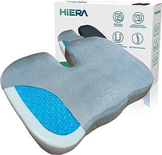 HIERA Gel Enhanced Seat Cushion - Non-Slip Orthopedic Gel & Memory Foam Coccyx Cushion for Back Relief Tailbone Pain - Sci...