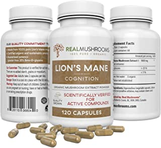 Organic Lions Mane Mushroom Capsules by Real Mushrooms - 120 Count of Extract Powder, White