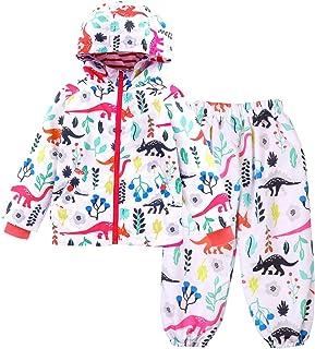 LZH, Impermeable Chubasquero para Niño o Niñas, Dinosaurio Capa de Lluvia de Dibujos Animados con Capucha Chaqueta Pantalones Traje
