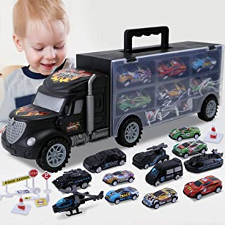 Toddler Toys for 3-4 Year Old Boys,Transport Cars Carrier Set Truck Toys with 20 Die-cast Vehicles Truck Toys Cars,Ideal Gift Toys for Kids Age 3-7