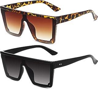 2 Pairs Fashion Oversized Flat Top Sunglasses Siamese Lens Sunglasses Unisex Square Sunglasses Shades for Men Women