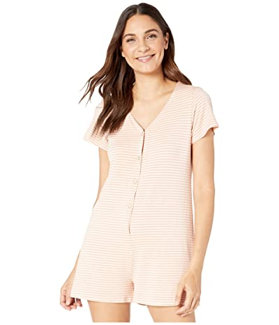 Roxy Other Things Short Sleeve Romper (Ivory Cream Marina Stripes) Women