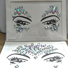 2pcs Crystal Tattoos Festival Face Jewels Rhinestones Gems Stickers Body Temporary Tattoos Bindi Eyes Stones Mermaid for Rave Party Face Rocks
