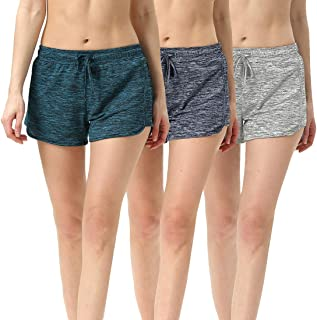 Athletic Shorts Women-Running Workout Gym Yoga Shorts with Two Pockets and Adjustable Drawstring(Pack of 3)
