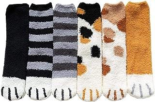 OMMO LEBEINDR, Invierno piso medias antideslizantes, calcetines garras del gato lindo animal caliente mullido por mujeres de la muchacha 6PCS, Pet Supplies