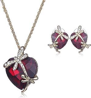 Heart Love Crystal collana placcata oro con orecchini bella attraente design blu collana orecchino