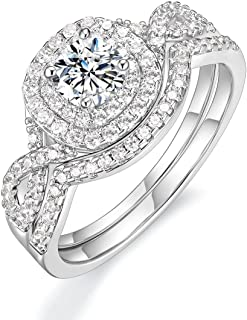 Mameloly 0.5ct Wedding Rings for Women Round Bridal Ring Sets Cubic Zirconia Engagement Promise Rings for Her Size 4-10