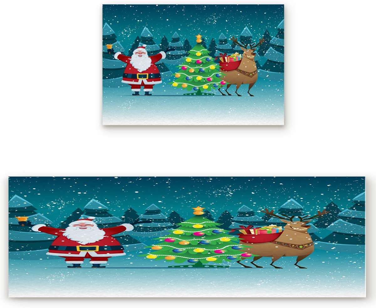 Non-Skid Comfort In stock Rubber Kitchen Chicago Mall Rugs Christmas and 2 Mats Piece