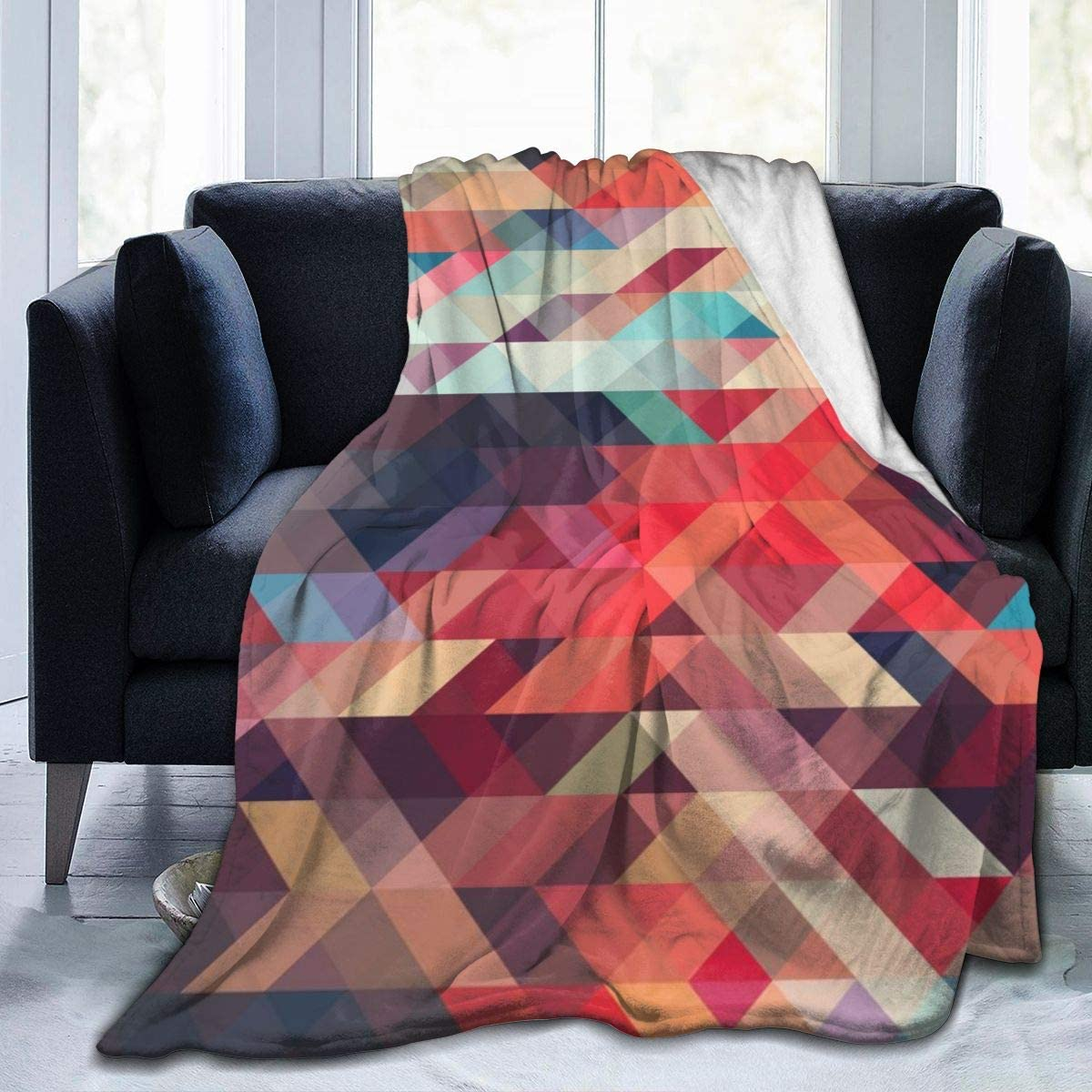 Amazon Com Familygam Blankets Queen Size Abstract Triangle Pattern Texture Background 60x50 Inch Bed Blanket And Throws Home Kitchen