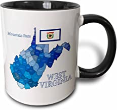 3dRose 219693_4 Flag And County Map Of West Virginia With State Name And Nickname Mug, 11 oz, Black