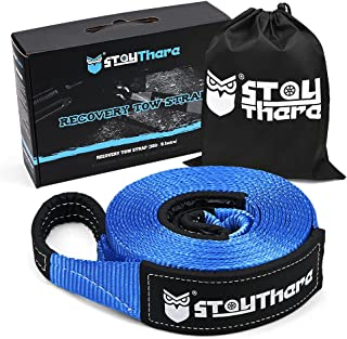 Stay There 3'' x 30 ft Tow Strap, Heavy Duty with 30,000 lb Capacity-Emergency Towing Rope for Recovery Vechiles-Storage B...