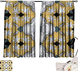 SINXY&CASE Black Curtains Decorative Background Tile with shard Patterned Objects 72