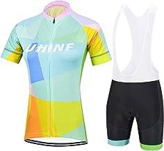 Dames Fietsshirt, Sneldrogende MTB-fietsshirt met Korte Mouwen + Fietsbroek met 3D-zitkussenbroek, Ademende Fietspakken