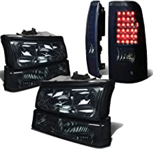 For Chevy Silverado 1st Gen 4pc Pair of Smoked Lens Clear Corner Headlight + Black Smoked Lens LED Tail Light