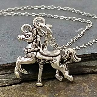 Carousel Horse Charm Necklace - 925 Sterling Silver, 18