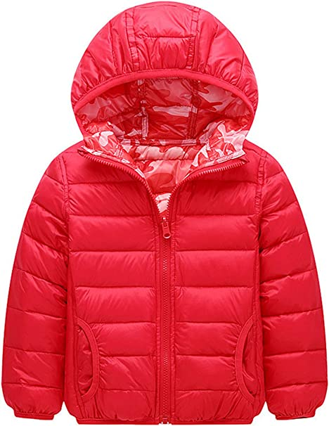 YOUBUY Kids Boys Girls Puffer Down Jacket with Hood Light Weight Down Outerwear Coat Camouflage Printed Pattern