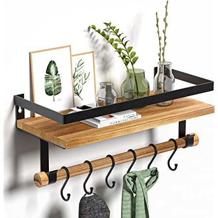 Alsonerbay Floating Shelves Wall Mounted Wood Shelves with Wood Rail and 8 Removable Hooks Rustic Wall Shelves for Kitchen