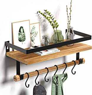 STOREMIC Floating Shelves 40cm, Kitchen Shelf with 6 Hooks, Solid Strong Metal Frame, Rustic Wall Shelve Easy to Install W...
