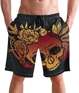 FFY Go Beach Shorts, Vintage Skull Pattern Printed Mens Trunks Swim Short Quick Dry with Pockets for Summer Surfing Boards...