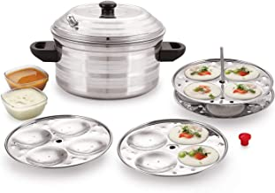 BMS LIFESTYLE Stainless Steel 4-Plates Idly Cooker, Induction & Gas Stove Compatible Idli Maker (4-Plates | 16 IDLI)