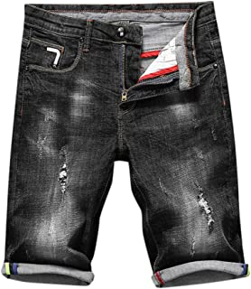 OMINA Mens Denim Shorts 2019 Summer Casual Sports Straight Cool Belt Zipper Jeans