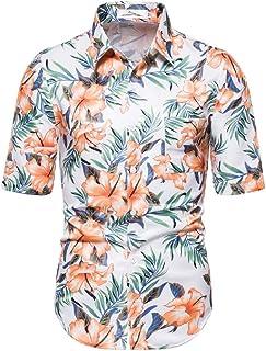 UUGYE Men's Slim Fit Floral Casual Short Print Sleeve Beach Hawaiian Shirt