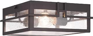 Progress Lighting P550038-020 Boxwood Collection One-Light Outdoor Flush Mount, Antique Bronze