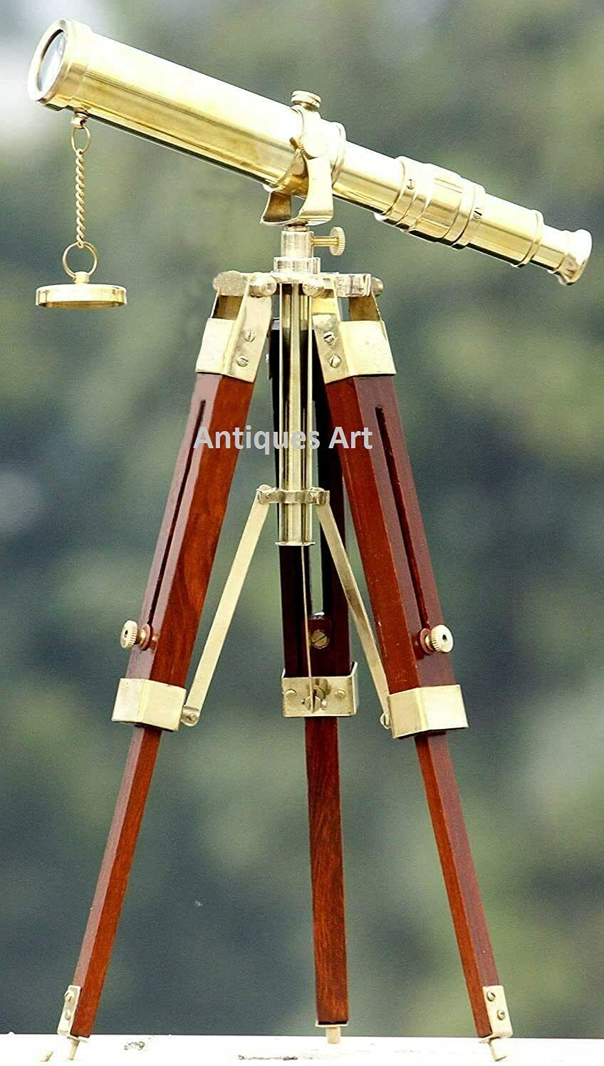 Vintage Brass Nautical Telescope 10 Stan with Tripod Inch We OFFer at cheap prices Wooden sold out