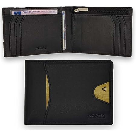 Portefeuille homme en cuir véritable AZZAM® - Porte-monnaie minimaliste - Qualité premium - Protection RFID - Porte carte de crédit 9 fentes, pièce identité française, emplacement billet - Idée cadeau