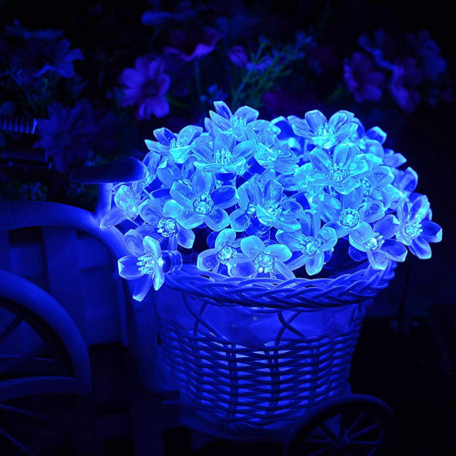 Show TINE ON Peach String Light 7M 50LEDs,Hanging Lights Solar Powered Strip Light Lawn Light Waterproof Decor for Wedding Party Home Garden Bedroom Outdoor Indoor Wall Decorations (Blue)