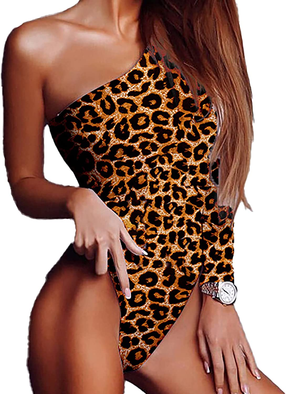 Womens One Shoulder Long Sleeve Bodycon Leotard Bodysuit