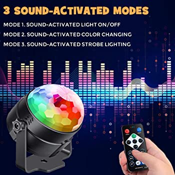 Sound Activated Party Lights with Remote Control Dj Lighting, RGB Disco Ball, Strobe Lamp 7 Modes Stage Par Light for...