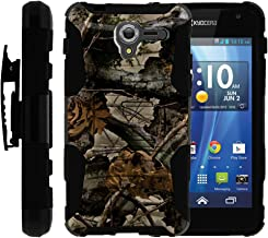 TurtleArmor   Compatible with Kyocera Hydro View Case   Hydro Reach Case   Hydro Shore Case [Hyper Shock] Hybrid Dual Layer Armor Holster Belt Clip Case Kickstand - Tree Leaves Camouflage