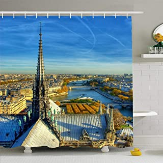 Ahawoso Shower Curtain Set with Hooks 60x72 Famous Fall Overlook Steeple Notre Dame City Paris Visit Tower River HDR Landmarks Textures Eiffel Waterproof Polyester Fabric Bath Decor for Bathroom