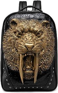 3D Print Animal Studded Backpack, PU Leather Cool Backpack Bookbag (Sabertooth-Gold)