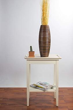 LEEWADEE Small Floor Vase – Handmade Flower Holder Made of Mango Wood, Sophisticated Vase for Decorative Twigs and Flowers, 1