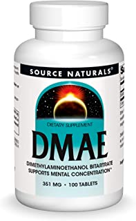 Source Naturals DMAE, Dimethylaminoethanol Bitartrate - Supports Mental Concentration - 100 Tablets