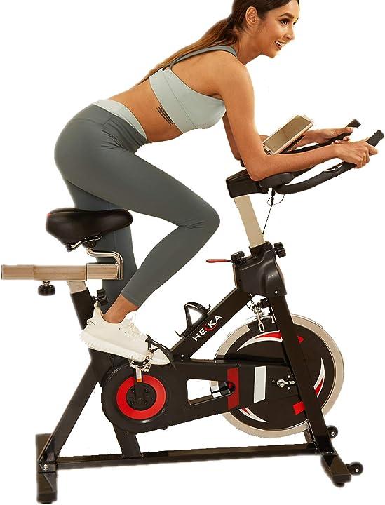 Cyclette da fitness con monitor lcd per cardiofrequenzimetro, volano pesante B08VRGQ1NG