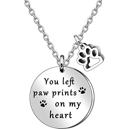 You left paw prints on my heart necklace dog memorial necklace sympathy jewelry pet loss necklace loss of pet cat remembrance jewelry