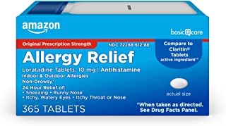 Amazon Basic Care Allergy Relief Loratadine Tablets 10 mg, White, 365 Count