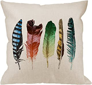 HGOD DESIGNS Feathers Decorative Throw Pillow Cover Case,Colorful Feathers Cotton Linen Outdoor Pillow cases Square Standard Cushion Covers For Sofa Couch Bed 18x18 inch Muti