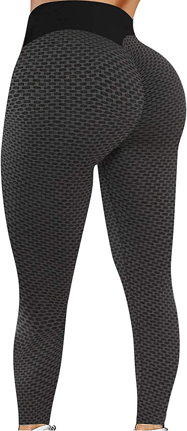 XUETON High Waist Yoga Pants for Womens, Bubble Hip Anti Cellulite Yoga Legging Workout Tummy Control Slimming Booty Tights