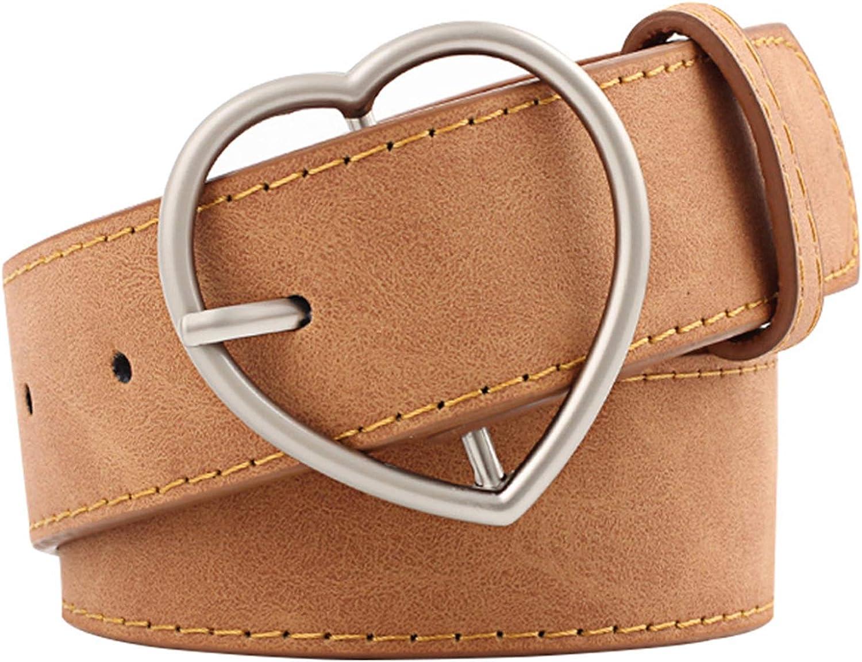 Heart Buckle Faux Leather Chic Belt Minimalist Style Belt for Ladies Girls Coat Jeans Pants(E)