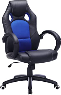 comprar comparacion SONGMICS OBG56L Racing - Silla de Escritorio de Oficina Ergonómica Regulable con Ruedas, color Azul