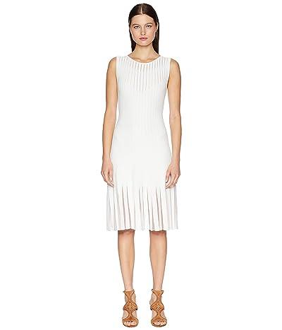 Zac Posen Knit Radiant Stripe Dress (White/Nude) Women
