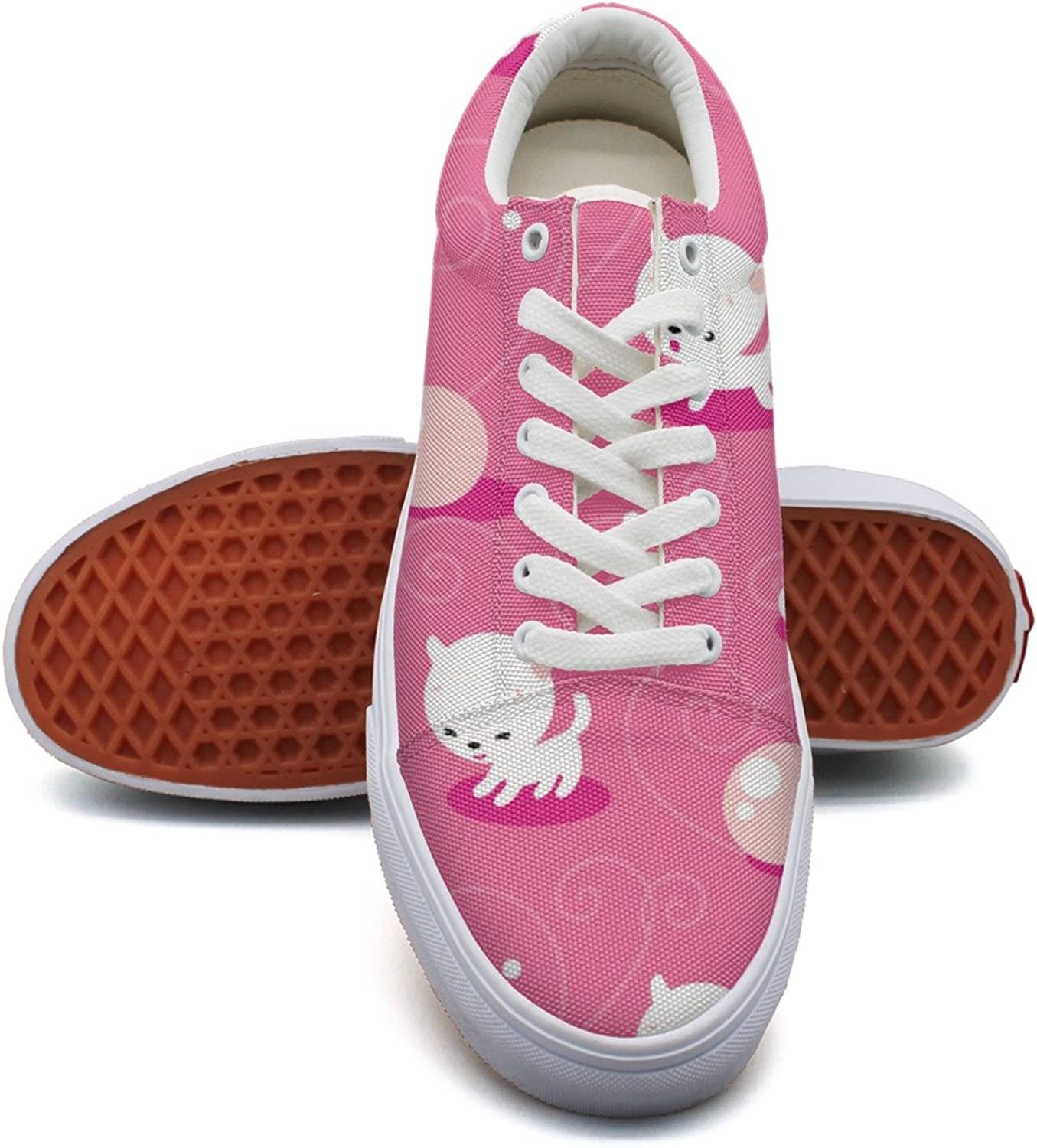 Pink Cute Cat Kitten Fashion Canvas Sneaker For Womns 3D Printed Low Top shoes