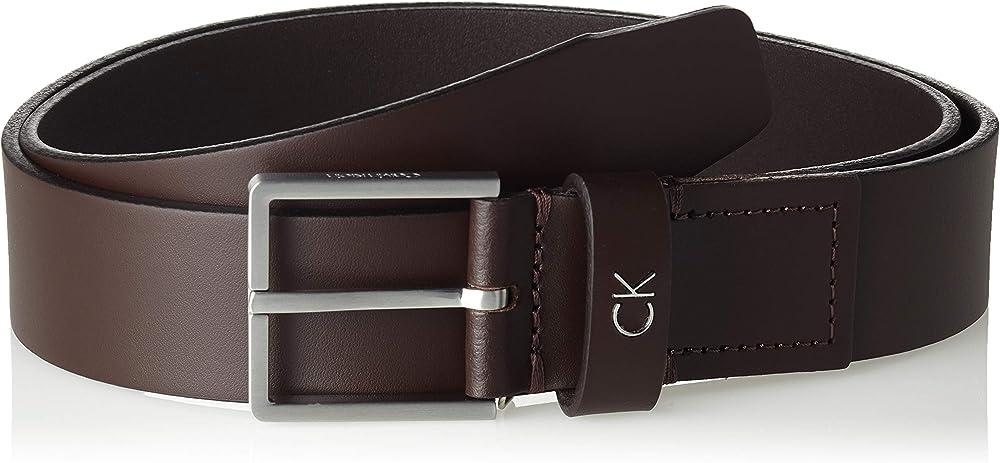 Calvin klein, cintura per uomo, in vera pelle con fibbia in metallo, marrone scuro K50K504300A