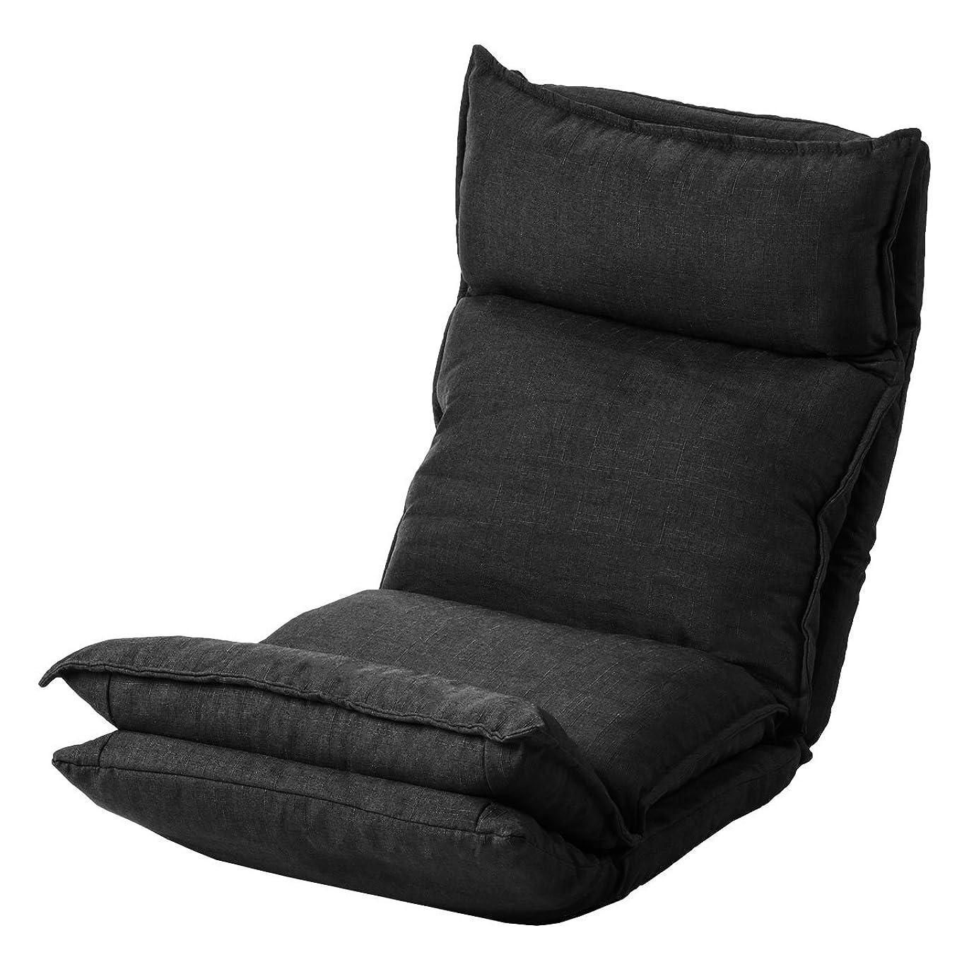 ジャンク恩赦に対処するサンワダイレクト 座椅子 ダブルクッションでフレームのゴツゴツ感なし! 42段階リクライニング ハイバック 肉厚座面 ブラック 150-SNCF012BK